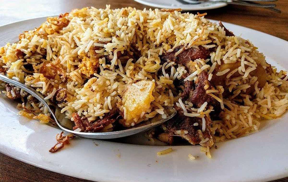 Mutton Kacchi Biriyani on a plate