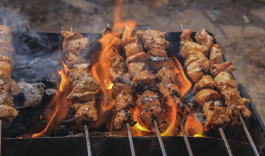 Sheek kebab on process